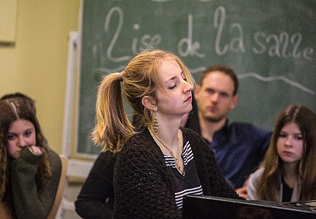 Lise de la Salle, Piano, in Hamburg, Gesamtschule Harburg © Dieter Helling