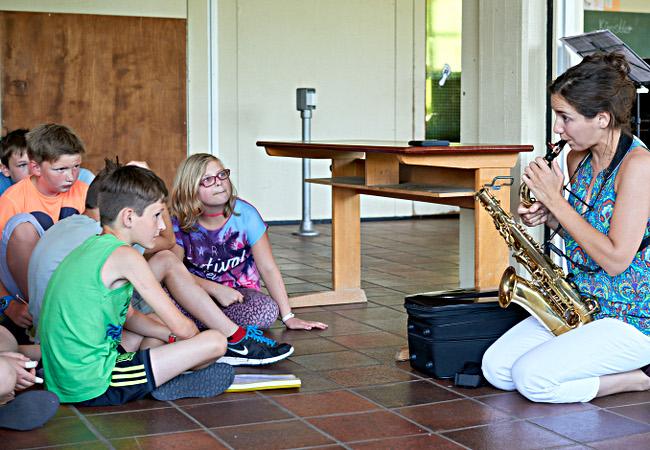 Asya Fateyeva (Saxophon), Heimbach-Schönblick, GGS Schönblick ©Brigitte Lerho
